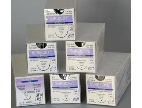 SMI HECHTDRAAD SURGICRYL 910 POLYGLACTINE USP2-0 HR 36MM BODYROND NAALD 75CM PAARS 1530 0136 STERIEL