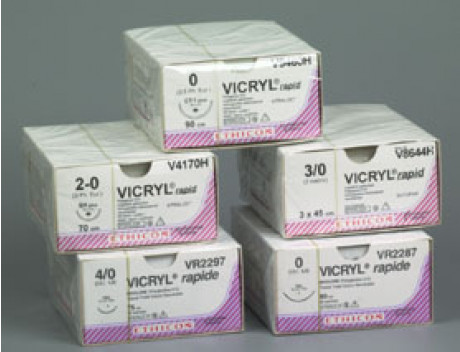 ETHICON HECHTDRAAD VICRYL RAPIDE USP2-0 NON NEEDLED 3X45CM TRANSPARANT V8645E STERIEL