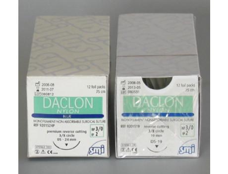 SMI HECHTDRAAD DACLON NYLON USP6-0 DS 12MM BUITENSNIJDEND 75CM ZWART 907 1512 STERIEL