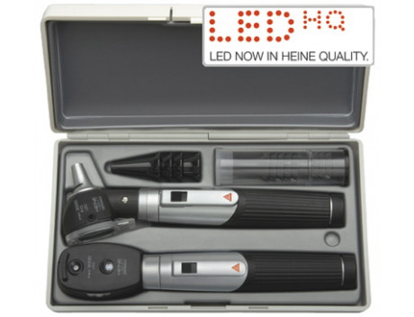 Mini 3000 LED fiber otoscoopset met ophthalmoscope