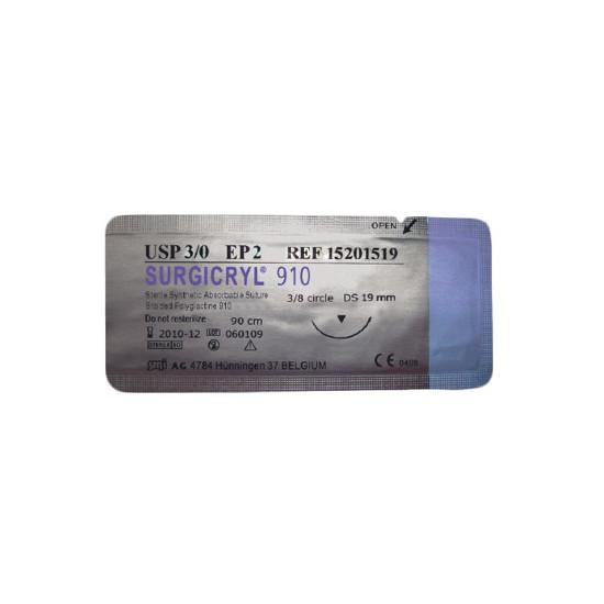Surgicryl DS-19 huidnaald (19mm) 3-0 draaddikte