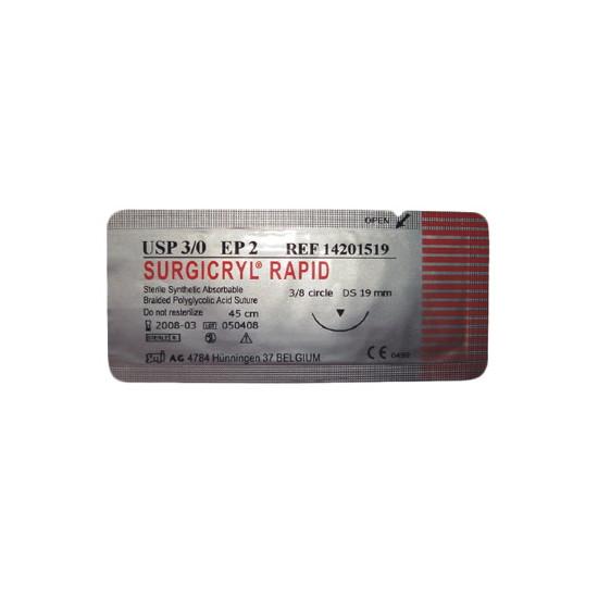 Surgicryl Rapid DS-19 huidnaald (19mm) 3-0 draad
