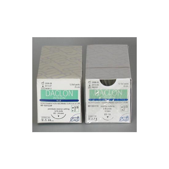 SMI HECHTDRAAD DACLON NYLON USP3-0 DS 19MM BUITENSNIJDEND 75CM BLAUW 920 1519 STERIEL