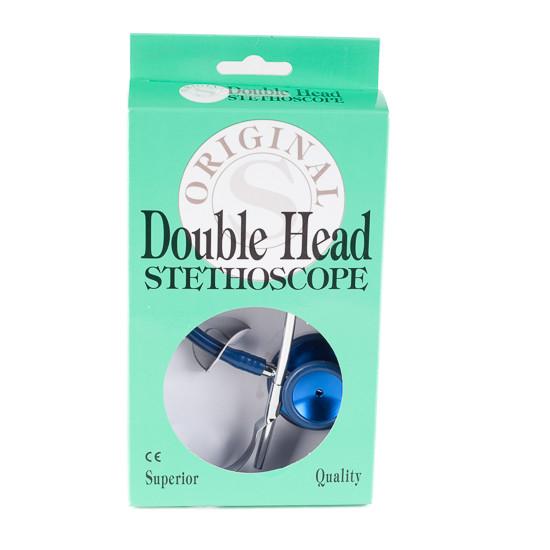 Stethoscoop dubbelzijdig, aluminium, blauwe slang