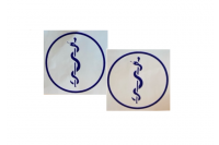 Sticker aesculaapteken zelfklevend rond blauw 39200