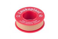 Leukoplast hechtpleister textiel met ring 5mx1.25cm huidskleur 01521-00