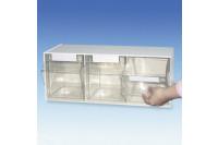 Dispenser spuiten/naalden 3 vakken 16,3x60,1x24,3cm meg920031